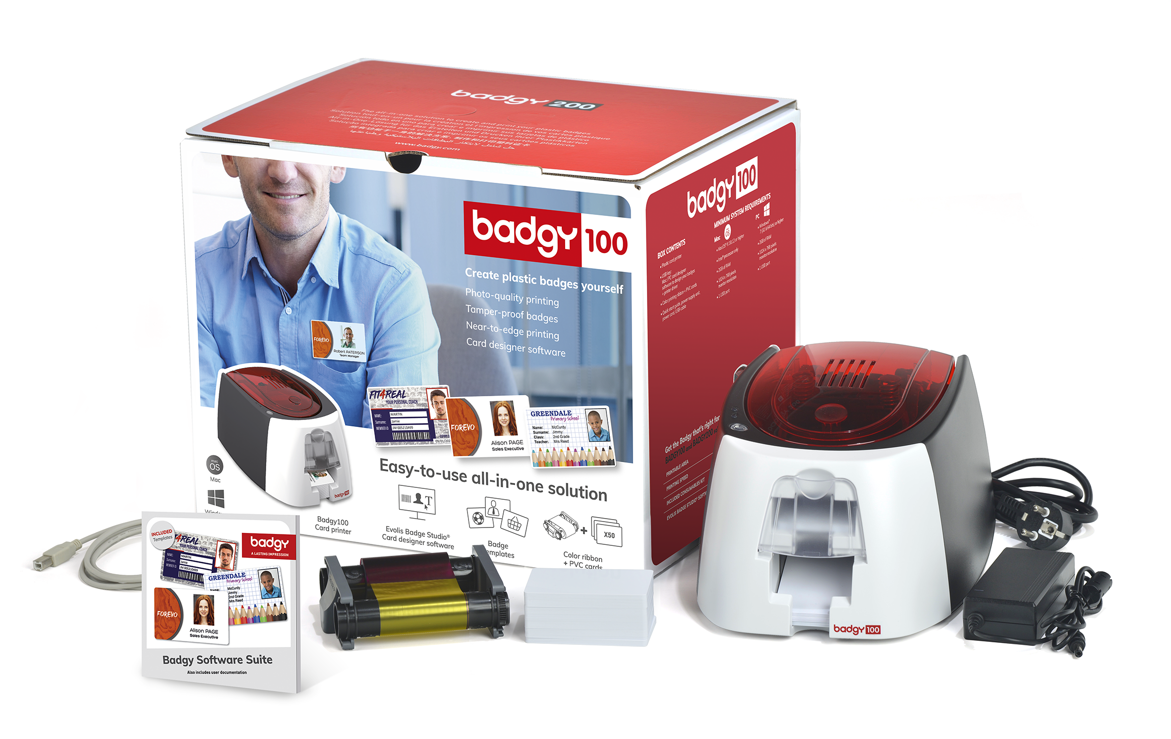 Complete Badgy100 Plastic card printing solution